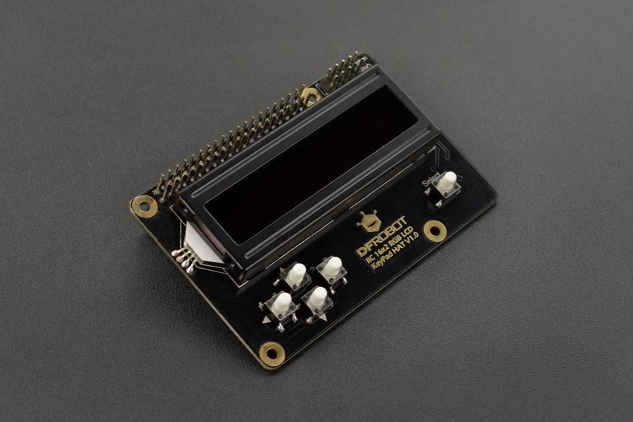 I2C 16x2 RGB LCD KeyPad HAT with RGB Font (Compatible with Raspberry Pi 4B/3B+)