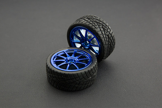 D65mm Rubber Wheel Pair - Blue (Without Shaft)