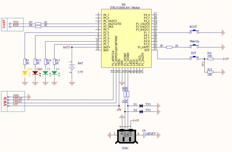 Fig1: BLE4.1 Minimum System Schematic