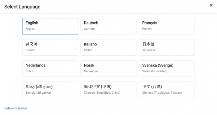 Choose the language you want