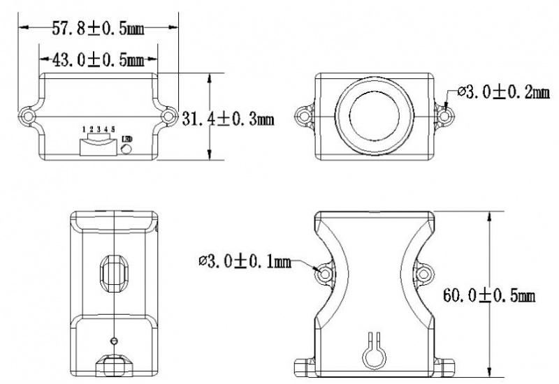 SEN0300 Water-proof Ultrasonic Sensor (ULS) Dimension Diagram