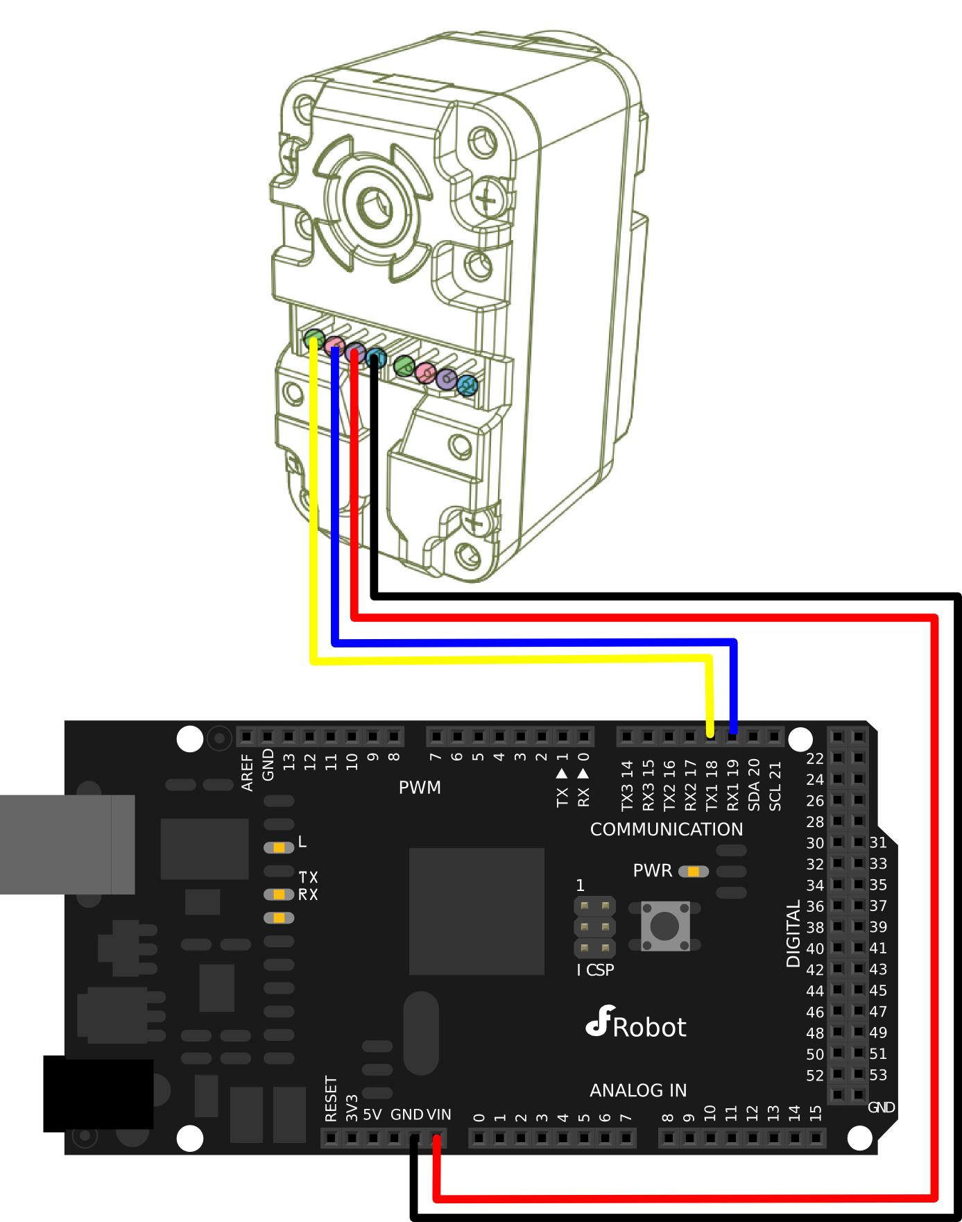 SER0032 DRS - 0101 HerkuleX Smart Servo Connection Diagram