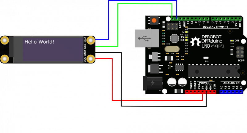 """Monochrome 0.91""""128x32 I2C OLED Display Chip Pad Connect.png"""