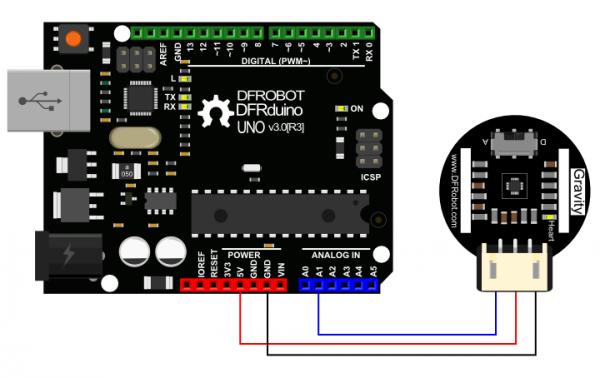 SEN0203 Heart Rate Monitor Sensor for Arduino Connection Diagram