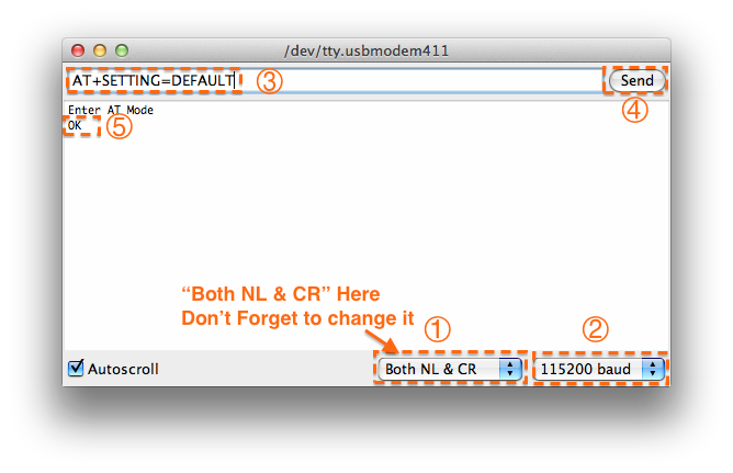 Fig1: enter the AT command,remember selecting the Both NL & CR