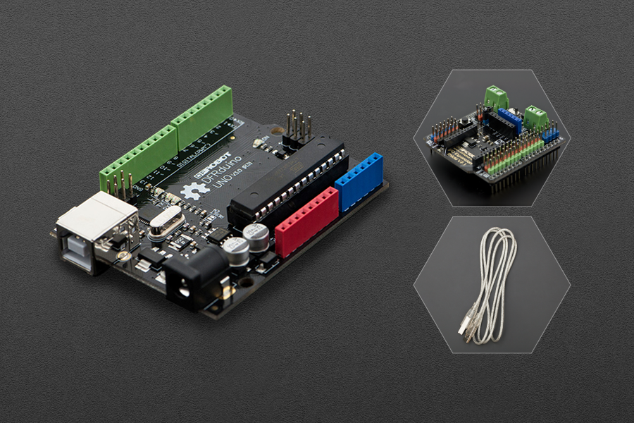 DFRduino UNO R3 with IO Expansion Shield and USB Cable A-B