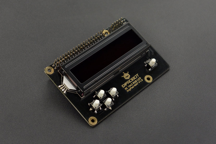 I2C 16x2 RGB LCD KeyPad HAT with RGB Font (Compatible with Raspberry Pi 4B/3B+)
